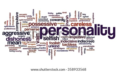 Conceptual tag cloud containing words related to negative personality features such as aggressive, stupid, boring, bossy, cowardly, cruel, jealous, rude, mean and thoughtless.