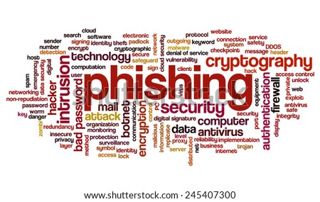 Conceptual tag cloud containing words related to phishing, internet security, networking and privacy and cyberwar.