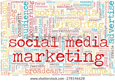 "Conceptual tag cloud containing words related to social media, marketing, blogs, social networks and Internet. Words ""social media marketing"" emphasized. - stock vector"