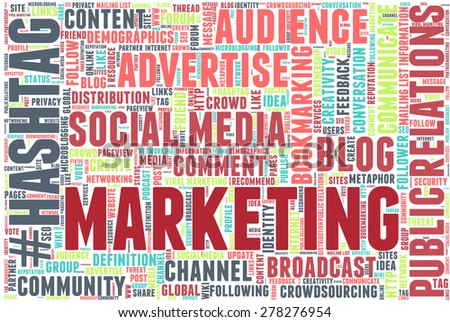 "Conceptual tag cloud containing words related to social media, marketing, blogs, social networks and Internet. Word ""marketing"" emphasized."