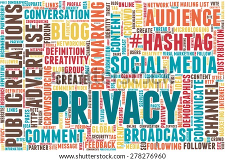 "Conceptual tag cloud containing words related to social media, marketing, blogs, social networks and Internet. Word ""Privacy"" emphasized."