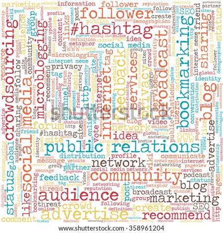 Conceptual tag cloud containing words related to social media, marketing, blogs, social networks and Internet in shape of square - stock vector