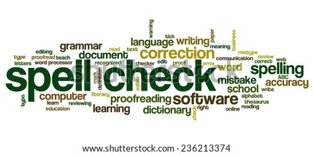 Conceptual tag cloud containing words related to spell checking, typos, errors in written text and correction software - stock vector