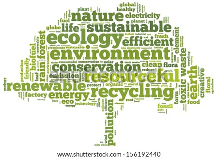 Conceptual tag cloud in the shape of the green tree on white containing words related to ecology, environment, pollution, renewable resources, recycling, conservation, efficiency... - stock vector
