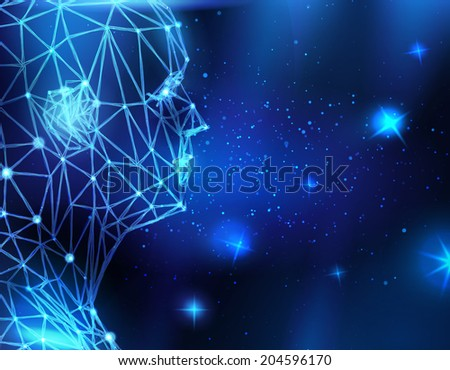 Conceptual technological background with human head  - stock vector