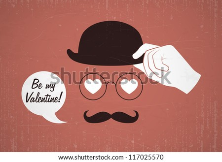 Conceptual valentine card with glasses and mustache. Vector illustration. - stock vector