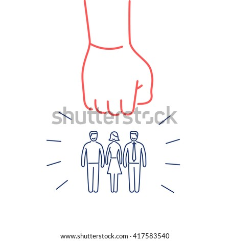 Conceptual vector aggressive campaign strategy icon of people group pushing down by hand fist |  flat design marketing and business linear illustration and infographic red and blue on white background - stock vector