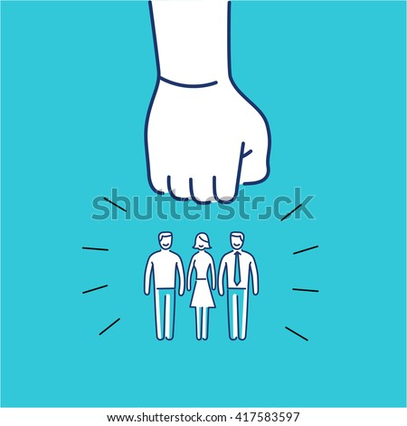 Conceptual vector aggressive campaign strategy icon of people group pushing down by hand fist | modern flat design marketing and business linear illustration and infographic concept on blue background