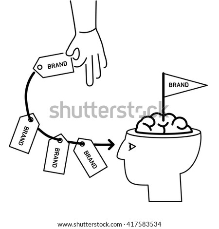 Conceptual vector branding marketing strategy icon of hand repeatedly sending brand in to customer mind or in to brain in his open head | business linear illustration and infographic black on white - stock vector
