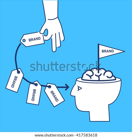 Conceptual vector branding marketing strategy icon of hand repeatedly sending brand in to customer mind or in to brain in his open head | flat design linear illustration infographic on blue background