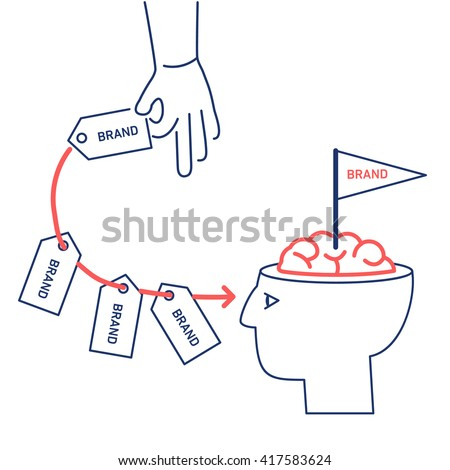 Conceptual vector branding marketing strategy icon of hand repeatedly sending brand in to customer mind or in to brain in his open head | illustration and infographic concept red and blue on white - stock vector
