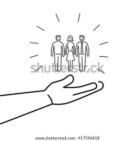 Conceptual vector conservative friendly campaign strategy icon of people group in open palm hand | flat design marketing and business linear illustration and infographic black on white background - stock vector