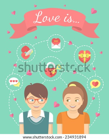 Conceptual vector flat illustration of a boy and a girl in love with dating symbols. Love infographics. - stock vector