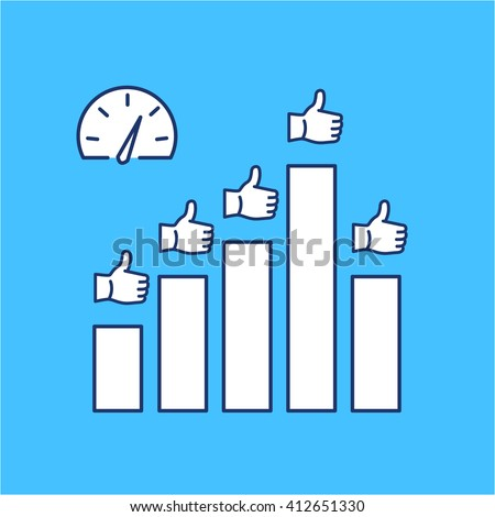 Conceptual vector icon of KPI - key performance indicators chart | modern flat design marketing and business linear illustration and infographic concept on blue background