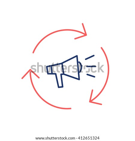 Conceptual vector icon of marketing campaign with megaphone | modern flat design marketing and business linear illustration and infographic concept red and blue on white background