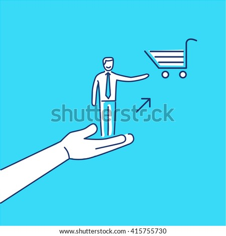 Conceptual vector icon of pull marketing communication and strategy with hand pulling happy customer to shopping basket |  flat design business linear illustration and infographic on blue background - stock vector