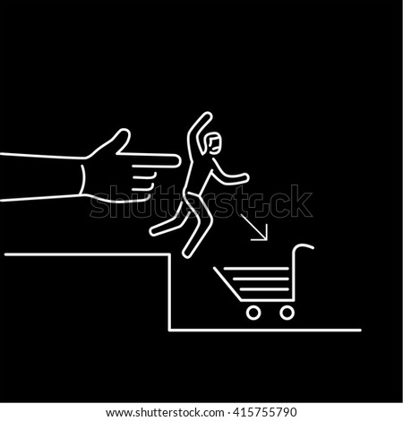 Conceptual vector icon of push marketing communication and strategy with hand pushing customer to shopping basket | flat design business linear illustration and infographic white on black background - stock vector