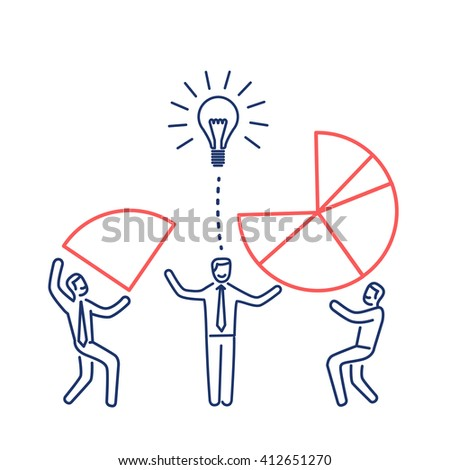 Conceptual vector icon of teamwork creative process in agency business mans making pie chart together | modern flat design marketing linear illustration and infographic red & blue on white background - stock vector