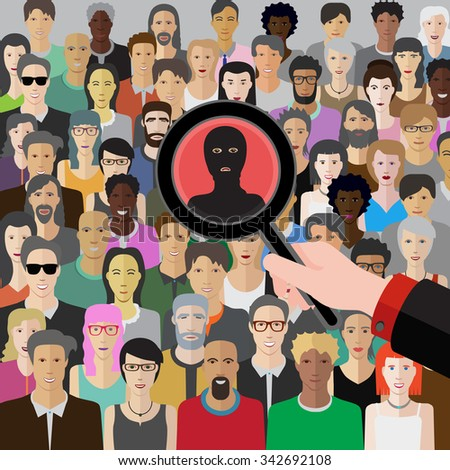 conceptual vector illustration at terrorism threat with crowd of people - stock vector