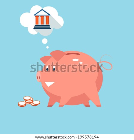 Conceptual vector illustration depicting banking piggy bank money into sound investments at the bank with a pink piggy thinking of a bank in a thought bubble - stock vector