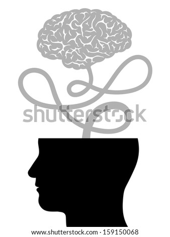 Conceptual vector illustration depicting human intelligence with the silhouette of a mans head with the top of the cranium removed and the brain floating free on a cord - innovation and creativity - stock vector