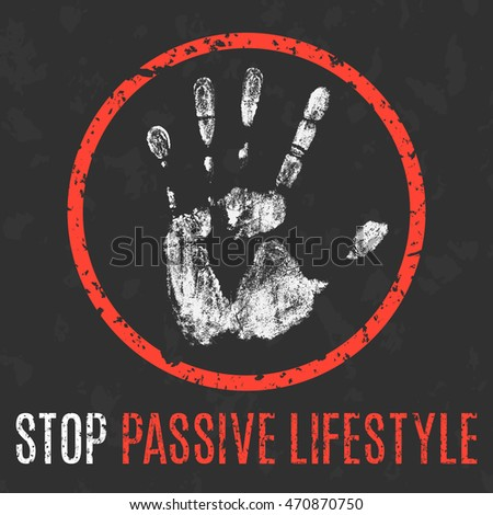 Conceptual vector illustration. Human diseases. Stop passive lifestyle.