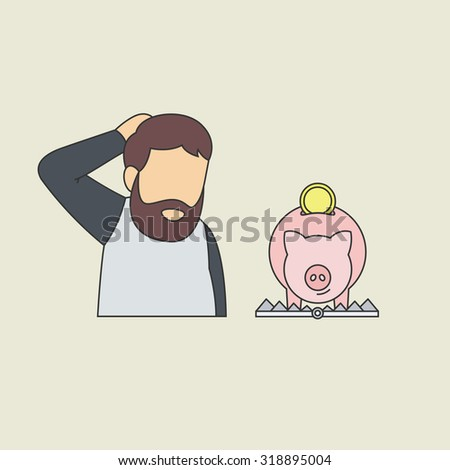 Conceptual Vector Illustration in Flat Design Illustration Depicting Someone is Tempted to Earn Money or Save by Dangerous Investment, Fall into the Trap. - stock vector