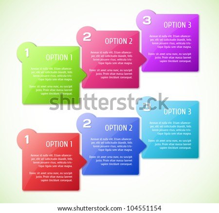 Conceptual vector illustration of colorful cubes with arrows and place for your text. Usable for different business design. - stock vector