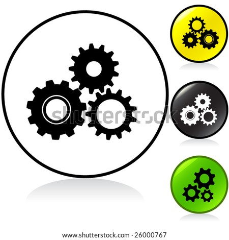 Conceptual vector illustration of gears or cogwheels round button. proposed colors - stock vector