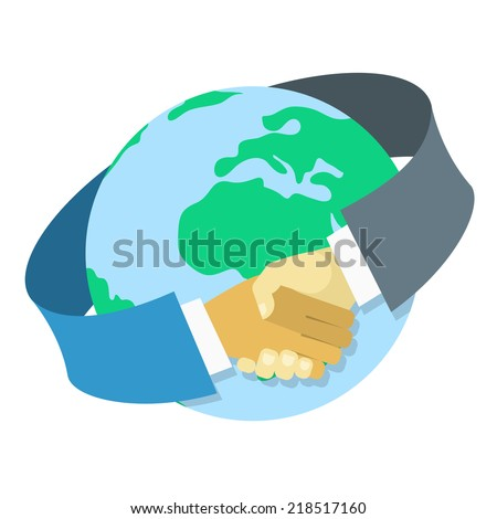 Conceptual vector illustration of international business cooperation in the form of a handshake around earth globe in modern flat style. Isolated on white. - stock vector