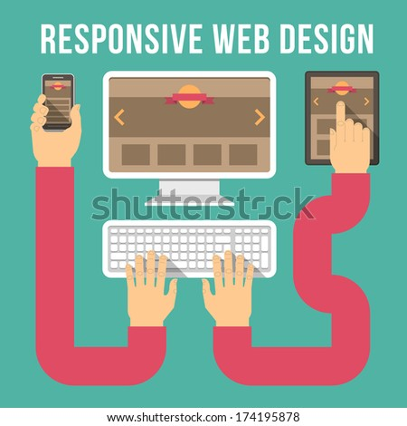 Conceptual vector illustration of responsive web design with computer, tablet, and smart phone connected with hands.  - stock vector