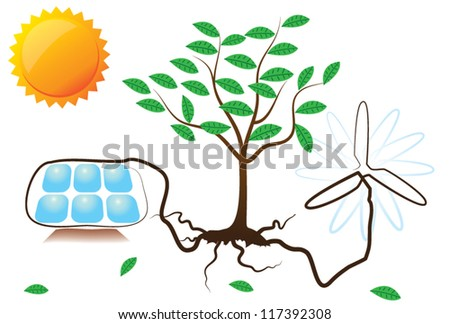 Conceptual vector illustration of solar and wind energy growing from a tree root, with sun on white background - stock vector