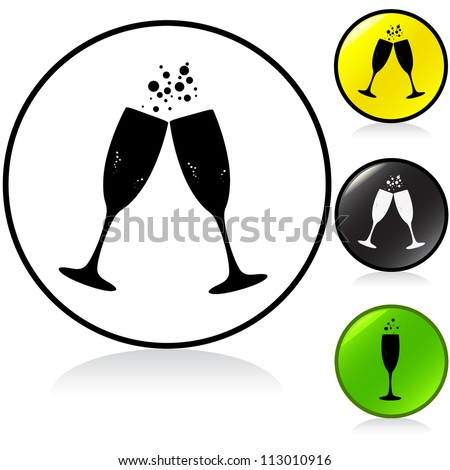Conceptual vector illustration of sparkling champagne glasses in round button. Proposed colors. Vector File.