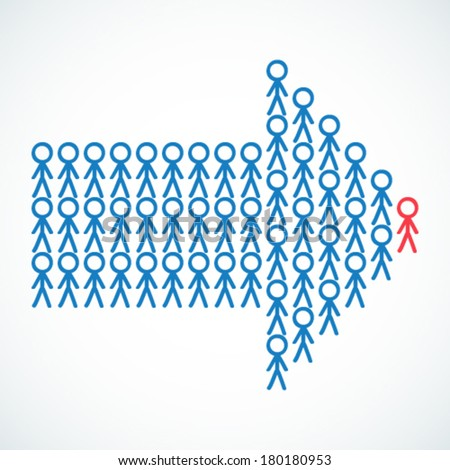 Conceptual vector illustration of stick figures standing in the shape of an arrow the red colored leader being the tip.