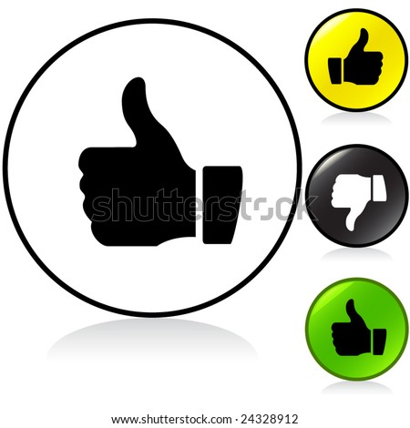 Conceptual vector illustration of thumb up sign round button. proposed colors - stock vector