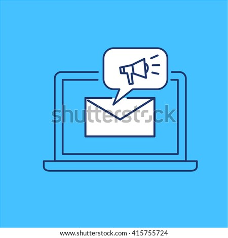 Conceptual vector newsletter icon of marketing communication strategy with megaphone on computer screen | modern flat design business linear illustration and infographic concept on blue background - stock vector