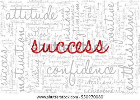 "Conceptual vector of tag cloud containing words related to creativity, positive thinking, confidence, enthusiasm, imagination, inspiration, potential, optimism... Word ""success"" emphasized."