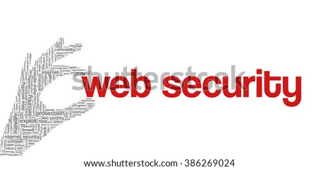 """Conceptual vector of tag cloud containing words related to internet, data, web and network security, data protection, security policy and privacy; in shape of hand holding words """"web security"""" - stock vector"""