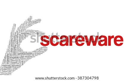 """Conceptual vector of tag cloud containing words related to internet, data, web and network security, data protection, security policy and privacy; in shape of hand holding word """"scareware"""" - stock vector"""