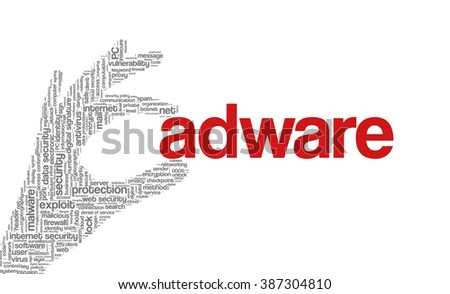 """Conceptual vector of tag cloud containing words related to internet, data, web and network security, data protection, security policy and privacy; in shape of hand holding word """"adware"""" - stock vector"""