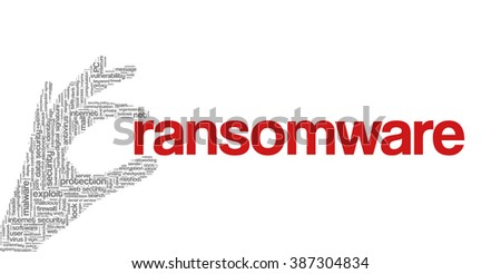 """Conceptual vector of tag cloud containing words related to internet, data, web and network security, data protection, security policy and privacy; in shape of hand holding word """"ransomware"""" - stock vector"""