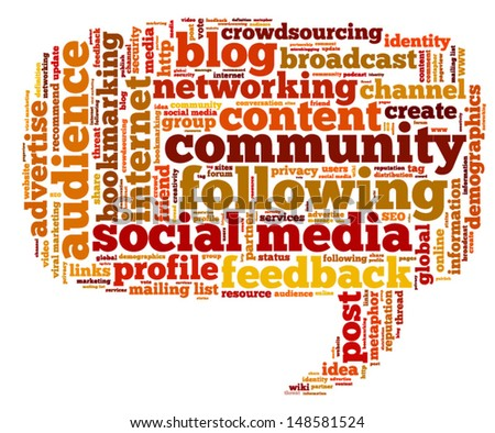 Conceptual vector of tag cloud containing words related to social media, marketing, blogs, social networks and Internet in the shape of the callout, pointing left. Also available as raster. - stock vector