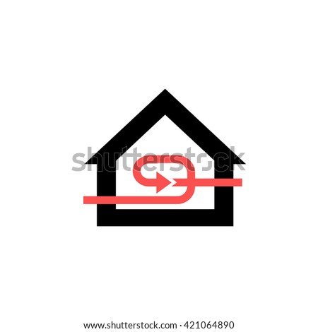 Conceptual vector passive house recuperation forced airing icon and pictogram | modern flat design illustration and infographic concept red and black on white background