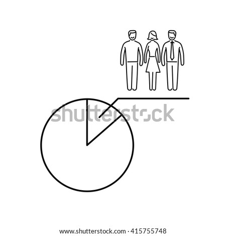 Conceptual vector population sample icon with pie chart at focus group of people | modern flat design marketing and business linear illustration and infographic concept black on white background