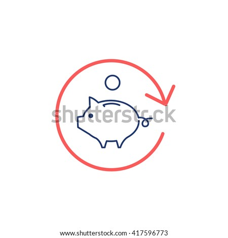 Conceptual vector roi icon return of investment | modern flat design marketing and business linear illustration and infographic concept red and blue on white background