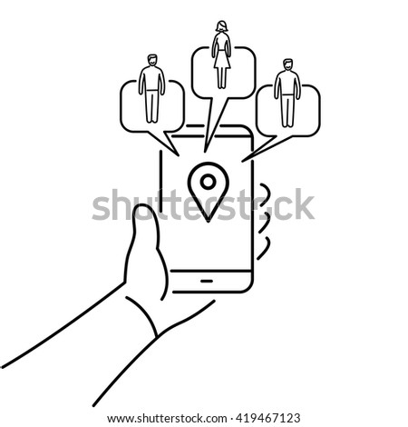 Conceptual vector solomo or social local mobile icon of smartphone in hand communicating with local social people groups. flat design marketing and business illustration infographic black on white