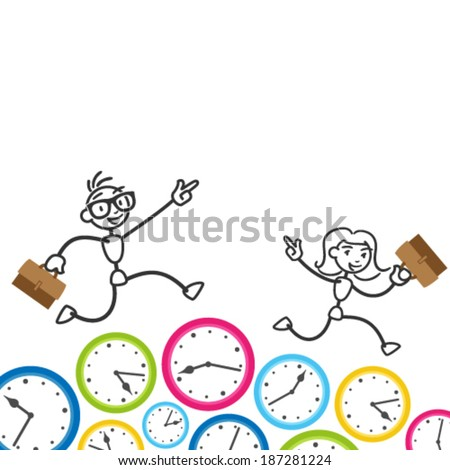 Conceptual vector stick figure illustration: Happy and eager business stickman and woman running on clocks.