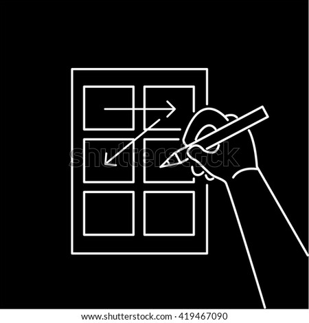 Conceptual vector storyboard icon of hand drawing creative sketches. modern flat design marketing and business linear illustration and infographic concept white on black background - stock vector
