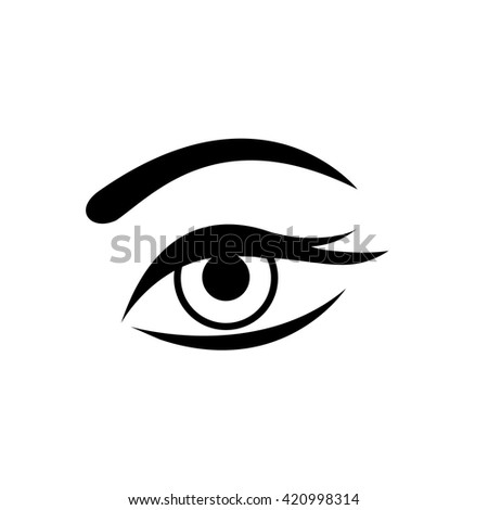 Conceptual vector woman eye icon with mascara and long lashes | modern flat design cosmetic and spa illustration and infographic concept black on white background