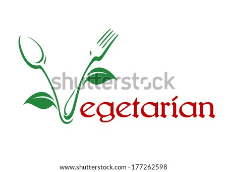 Conceptual vegetarian food icon logo with red text and the V formed of a spoon and fork in a stylized vine pattern with leaves in green - stock vector